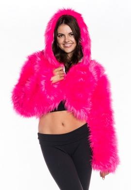 Ranger Pink Fur Crop Hoodie