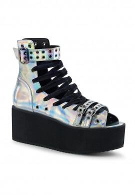 Demonia Hologram Platform Ankle High Sandals