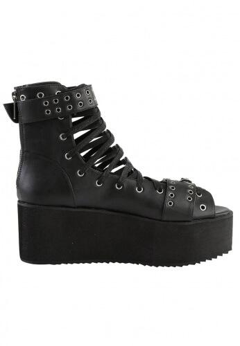 Demonia Black Platform Ankle High Sandals