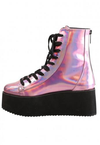 Demonia Pink Hologram GRIP-103 Razor Ankle Boots