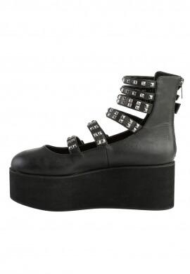 Demonia Black Platform Strappy Mary Jane Shoes