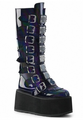 Demonia Black Holographic Damned-318 Boots