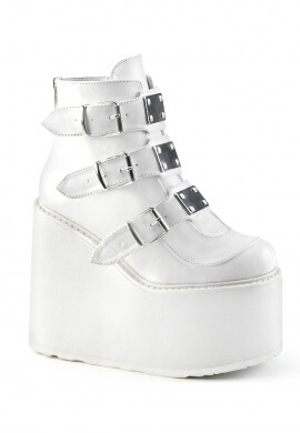 Demonia White Swing-105 Ankle Boots
