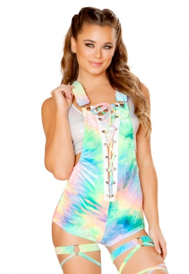 Pastel Rainbow Tie Dye V-Neck Lace-up Overall Romper