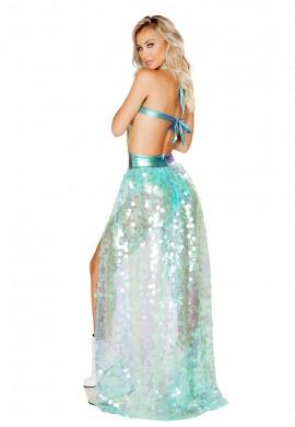 Iridescent Mint Sequin Open Front Skirt
