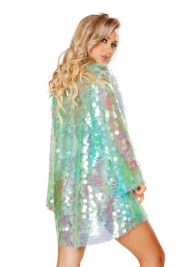 Iridescent Mint Sequin Robe