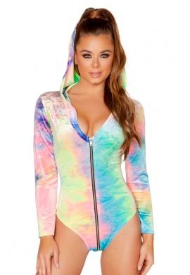 Pastel Rainbow Long Sleeved Hoodie Romper with Zipper Front