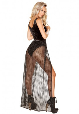 Black Velvet Romper with Attached Sheer Glitter Skirt