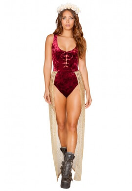 Burgundy Velvet Romper with Attached Sheer Glitter Skirt