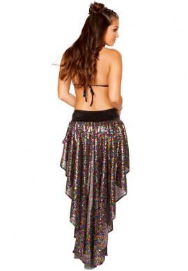 Rainbow Sequin Shorts with Asymmetrical Skirt