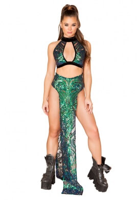 Green Sequin Keyhole Top