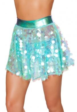 Iridescent Mint Sequin Flared Skirt