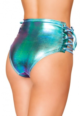 Iridescent Blue High-Waisted Shorts with Lace-Up Sides