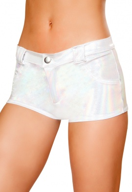 White Hologram Shorts with Back Pockets