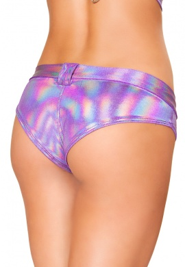 Lavender Hologram Mini Booty Shorts