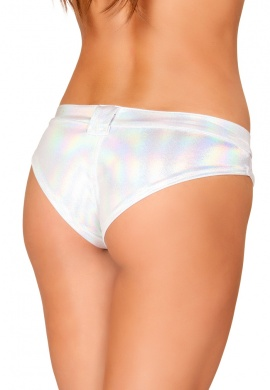 White Hologram Mini Booty Shorts