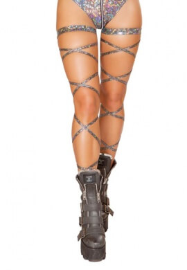 Silver Sparkle Foil Leg Wraps with Garter