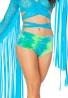 Blue Sea Tie-Dye Velvet Shorts