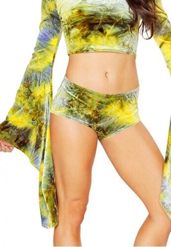 Earth and Olive Tie-Dye Velvet Shorts