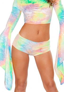 Pastel Tie-Dye Velvet Shorts