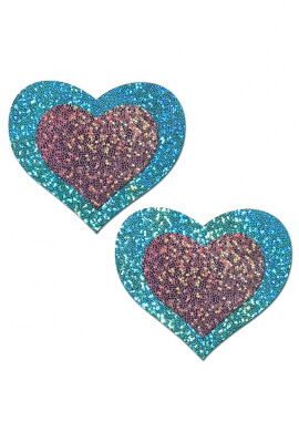 Seafoam and Lilac Glitter Heart Pasties