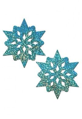 Aqua Glitter Snowflake Pasties