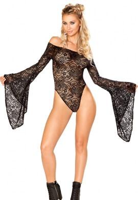 Black Lace Long Sleeve Bodysuit