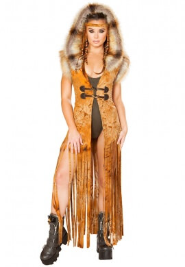Rusty Tie Dye Hooded Fringe Suede Duster