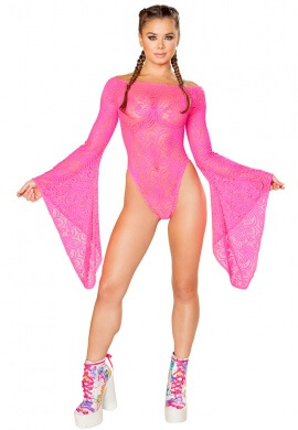 Hot Pink Lace Long Sleeve Bodysuit