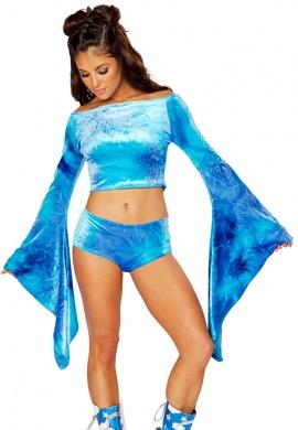 Blue Sky Tie-Dye Velvet Shorts