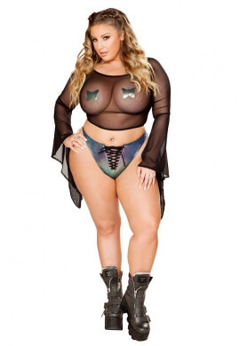 Black Opal Hologram Lace-Up Bottom