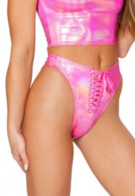 Pink Hologram Lace-Up Bottom