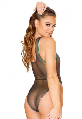 Black Opal Coated Mesh Bodysuit