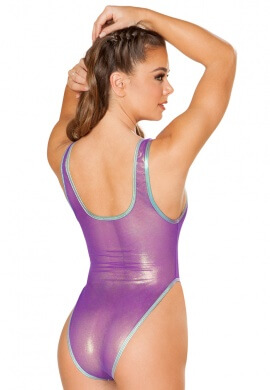 Purple Coated Mesh Bodysuit