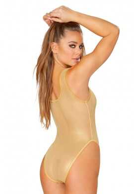 Gold Coated Fishnet Tank Bodysuit
