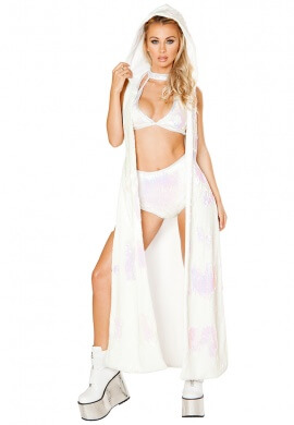 Pearl White and Matte Reversible Sequin Duster