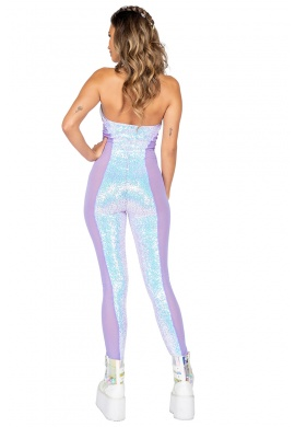 Lavender and Blue Mesh Sequin Catsuit