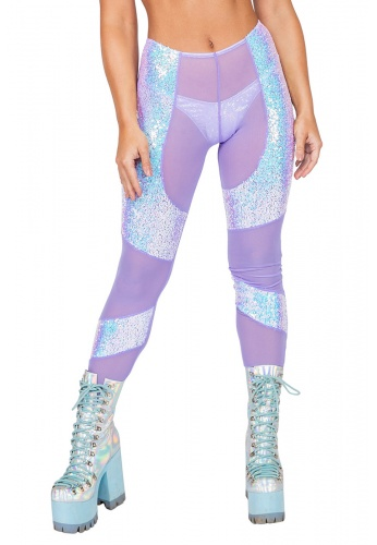 Lavender and Blue Mesh Sequin Chaps