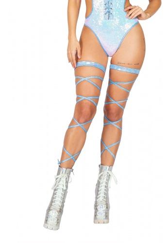 Light Blue Glitter Leg Wraps