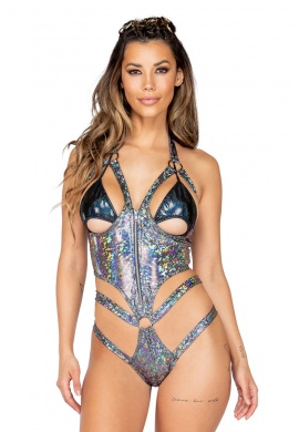Silver Open Cup Shimmer Romper