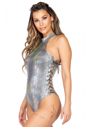 Silver Holo Snakeskin Lace-Up Romper