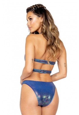 Blue Holo Iridescent Cutout Romper with Zipper Closure