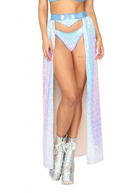 Baby Blue Sequin Open Front Skirt