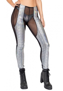 Black and Silver Two-Tone Sheer & Snakeskin Pants