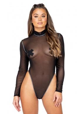 Black Long Sleeved Sheer Romper