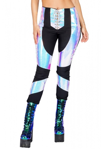 Holographic Snake Panel Pants