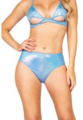 Baby Blue Iridescent High Waist Shorts with Cutout