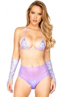 Lavender Sheer Mesh High Waist Shorts