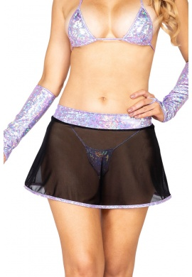 Black Mesh Skirt with Lavender Iridescent Trim