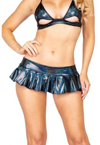 Black Iridescent Mini Pleated Skirt